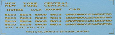 Bethlehem Car Works NYC Horse Car Decal Set (Gold) (Free shipping on US orders Only)