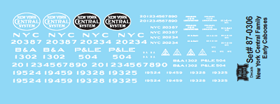 HO-Scale NYCS Early Caboose Decals (Free shipping to US customers ONLY) (NYCSHS Exclusive Item)