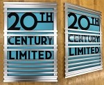 Colorful 20th Century Limited Observation Car Logo Art  (Blue Background)
