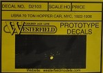 Westerfield HO-Scale Decals - 70-Ton Hopper NYC(Free shipping on US orders Only)