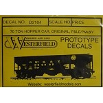Westerfield HO-Scale Decals - 70-Ton Hopper P&LE/PMc&Y(Free shipping on US orders Only)