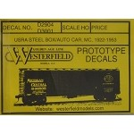 Westerfield HO-Scale Decals - USRA Steel Boxcar MCRR(Free shipping on US orders Only)