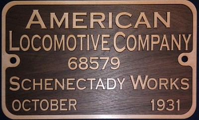 Wood NYCS Locomotive Builders Plate (You decide what you want on it.)
